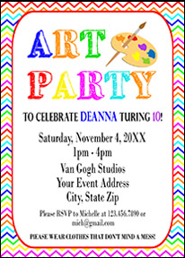 Art Party Invitation - Rainbow Paint Party