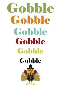 JusPrintables - Gobble Gobble 5x7 Thanksgiving Print