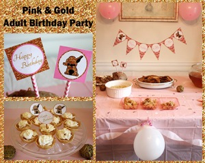 Jusprintables - Adult Pink and Gold Party Decorations
