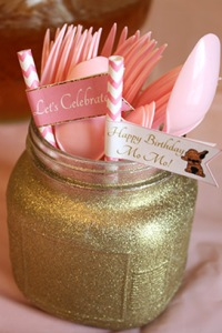 Party Straw Flags Pink and Gold
