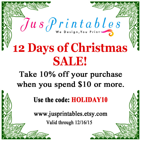 JusPrintables on Etsy Holiday Sale